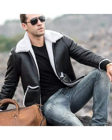 blouson bombardier en mouton homme style urban cuir
