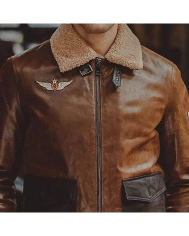 Blouson Cuir Marron Aviateur Homme Vintage