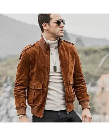 blouson veste cuir homme vintage camel brun