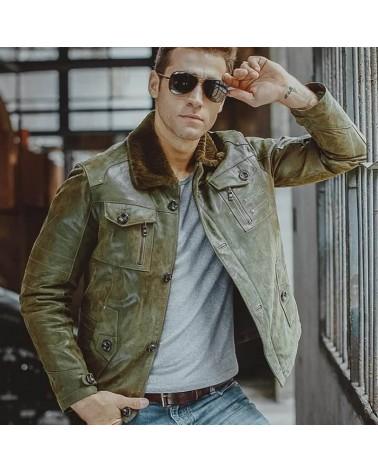 veste cuir homme vintage vert col fourrure