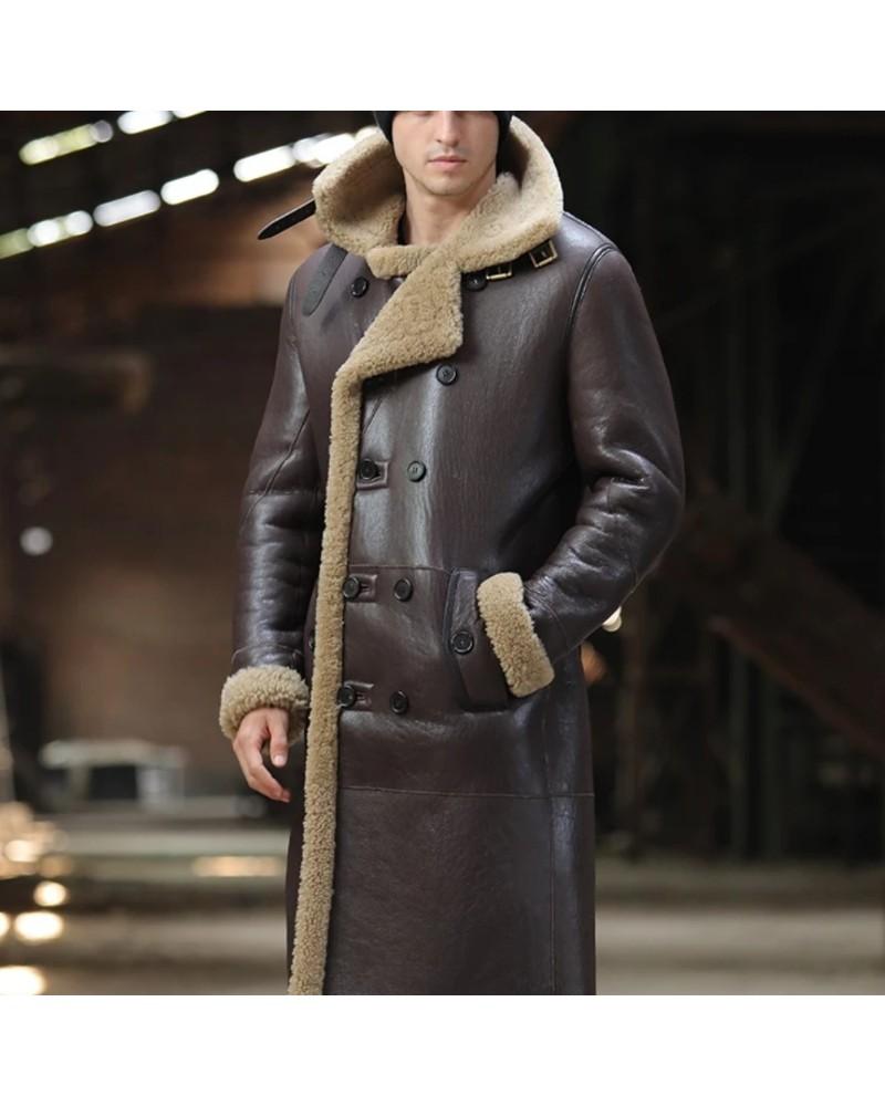 Manteau homme en cuir kaki de mouton retournée laine noir style grunge chic