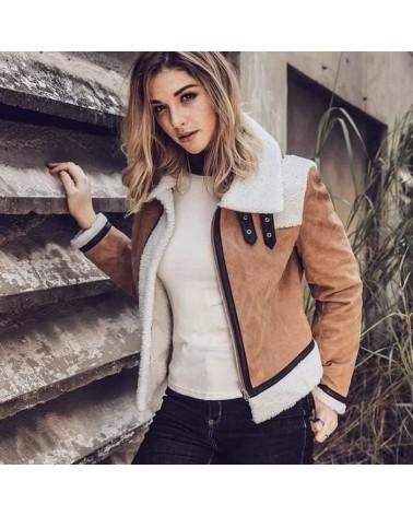 veste en cuir femme fourré en fausse laine