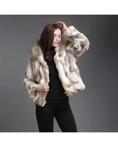 veste de fourrure en lapin naturelle avec capuche