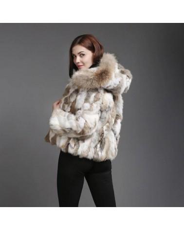blouson veste de fourrure en lapin naturelle