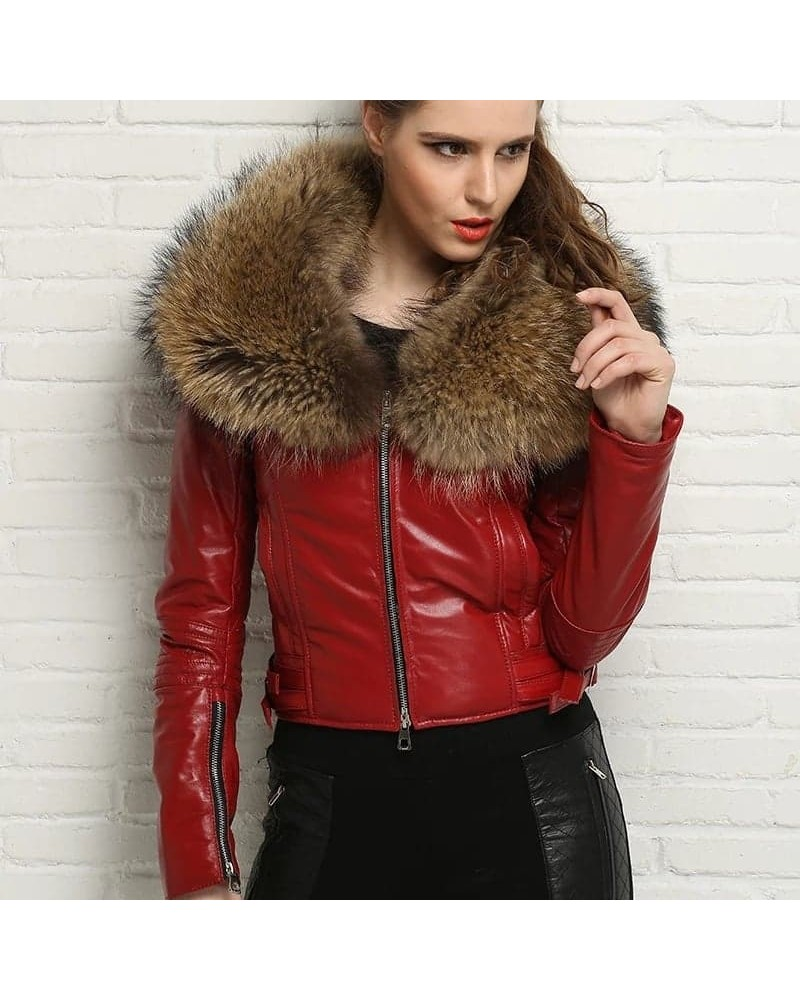 uk store cute cheap better BLOUSON VESTE CUIR FEMME BIG COL FOURRURE RENARD