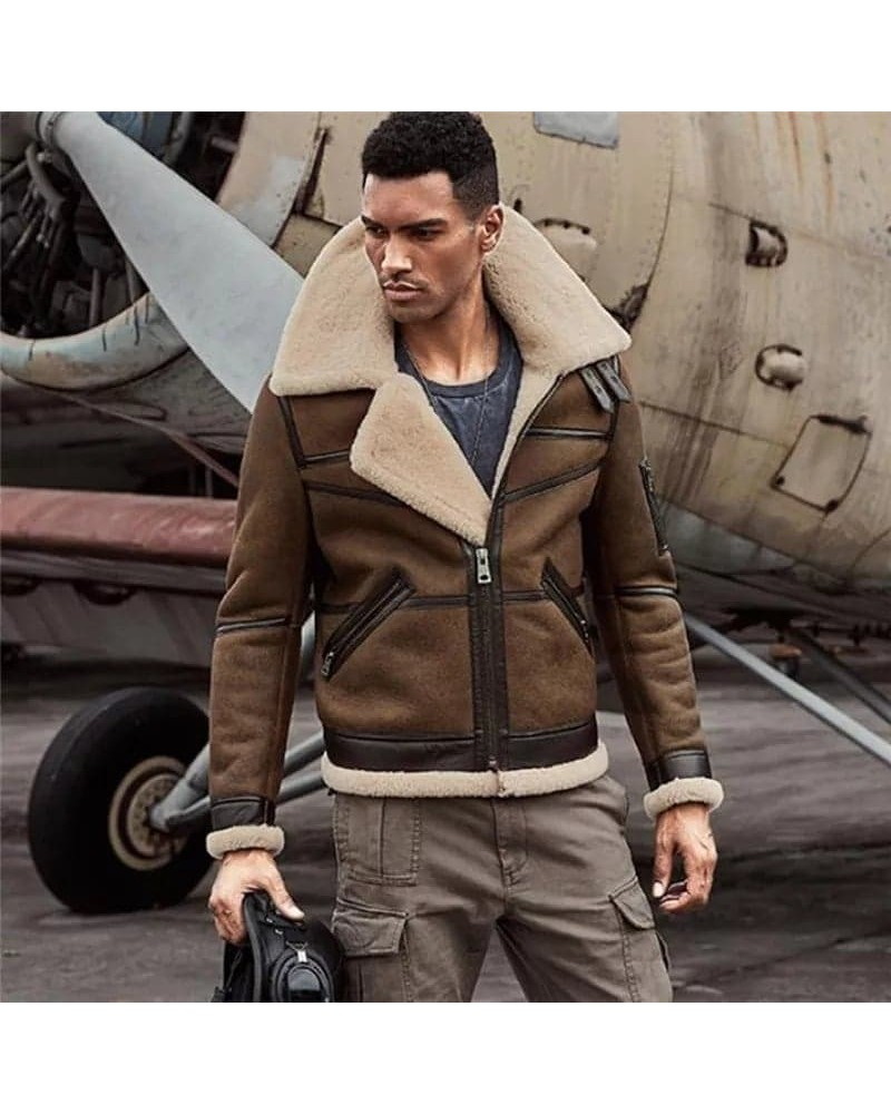 veste aviateur de luxe en cuir veritable et fourrure en