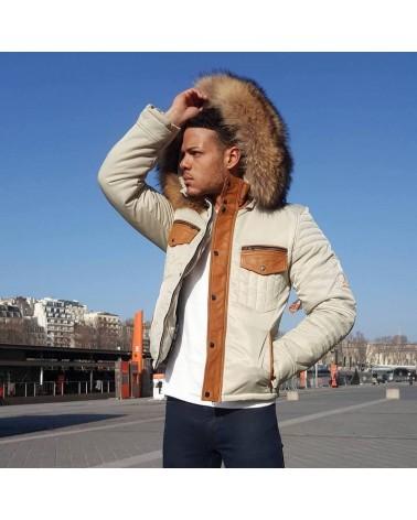 doudoune cuir et textile homme style urban cuir