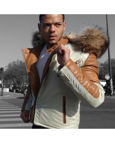 veste cuir homme camel et beige esteban