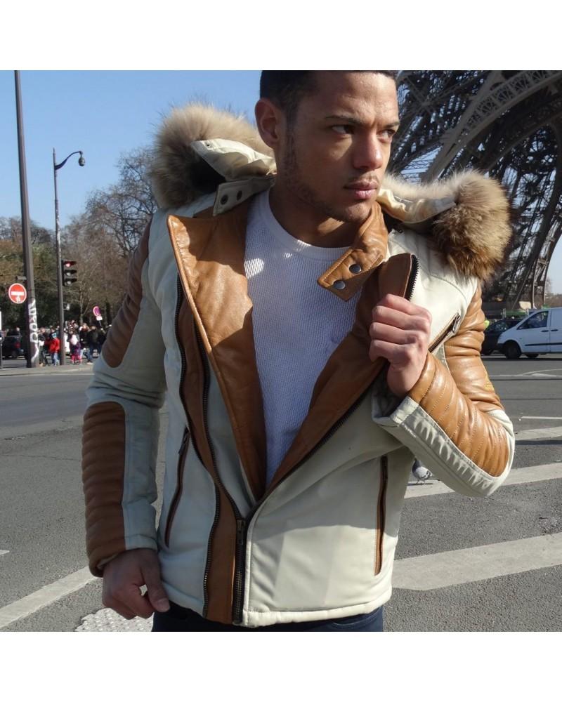 veste cuir camel textile beige fourrure de renard