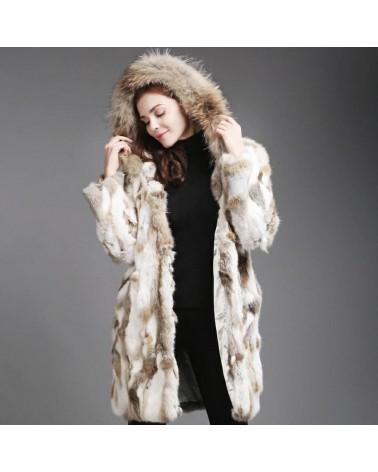 manteau long femme en lapin naturel