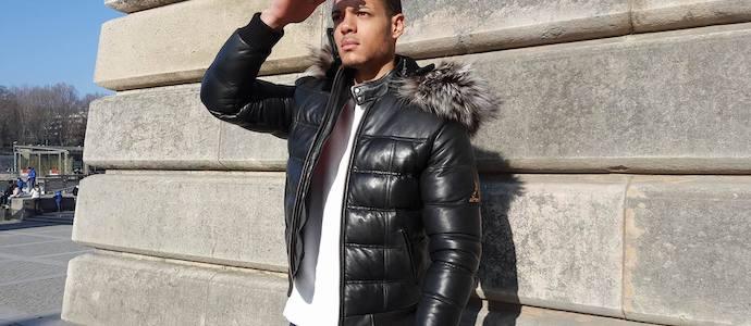 doudoune cuir homme noir courte Esteban